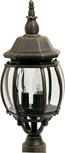 Maxim 1035RP Crown Hill 3-Light Outdoor Pole/Post Lantern, Rust Patina Finish, Clear Glass, CA Incandescent Incandescent Bulb , 60W Max., Damp Safety Rating, Standard Dimmable, Frosted Glass Shade Material, Rated Lumens