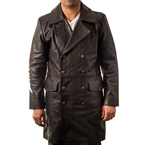 Z À Style En To A Pour Hommes Manteau Long Militaire De Boutonnage Leather Vachette Double Noir Cuir 1q5WFwI7F