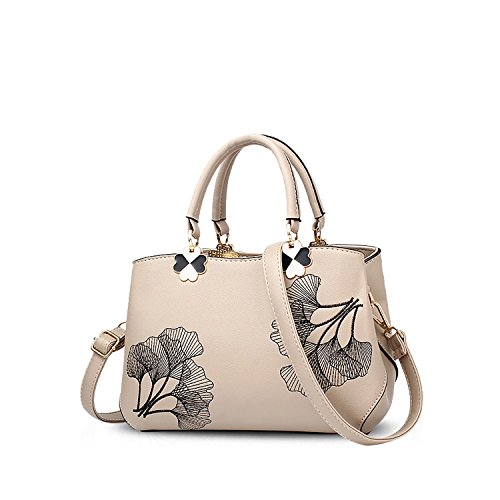 Khaki Handbags Bag NICOLE PU Flowers Women Ladies Gray Bag Tote Handle Leather Leaf Crossbody amp;DORIS Shoulder Satchel Top zxRXxUTq