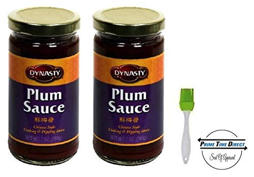 Dynasty Plum Sauce 7 oz (2 pack) with Silicone Basting Brush in a Prime Time Direct Sealed Bag