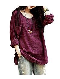 ARJOSA Women Casual Loose Long Sleeve Linen Shirt Blouse Tops