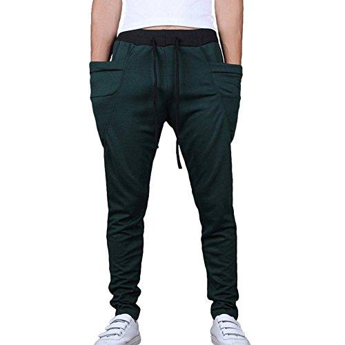 Fiream Mens Summer Casual Sport Skinny drawcord Jogging Pants Training Running Trousers(Dark green,L/32)