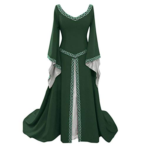 Clearance Medieval Dress,Forthery Renaissance Irish Dress for Women Plus Size Long Dresses Lace up Costumes Retro Gown(Green,XL)]()