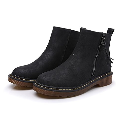 Meeshine Womens Leather Zipper Bootie Casual Comfortable Low Heel Walking Boot Shoes Black 3Vii4IFWnS