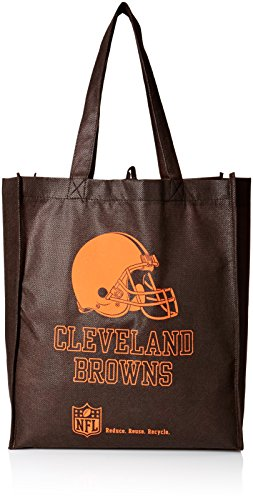 NFL Cleveland Browns Printed Non-Woven Polypropylene Reusable Grocery Tote Bag, One Size, Orange