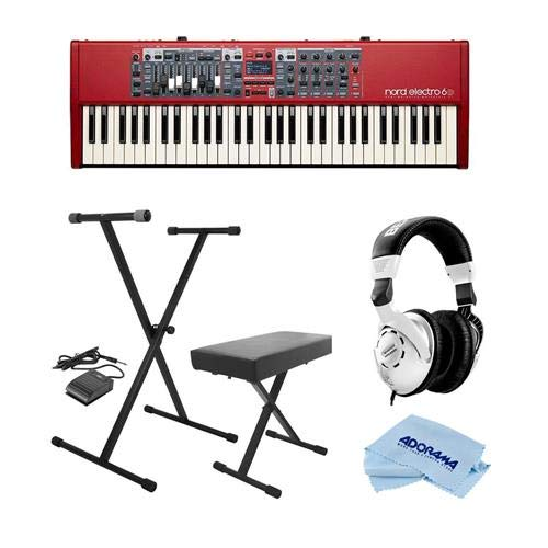 NORD Electro 6D 61-Note Semi-Weighted Waterfall Keybed - Bundle with On-Stage KPK6520 Keyboard Stand/Bench Pack with Sustain Pedal, Behringer HPS3000 High-Performance Studio Headphones, Cloth by Nord