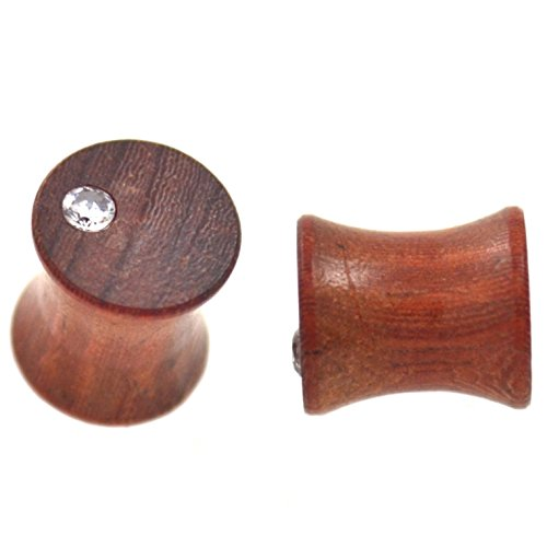 Pair of Double Flared Mahogany Wood Off Center CZ Plugs Organic Ear Gauges (0G 8mm)