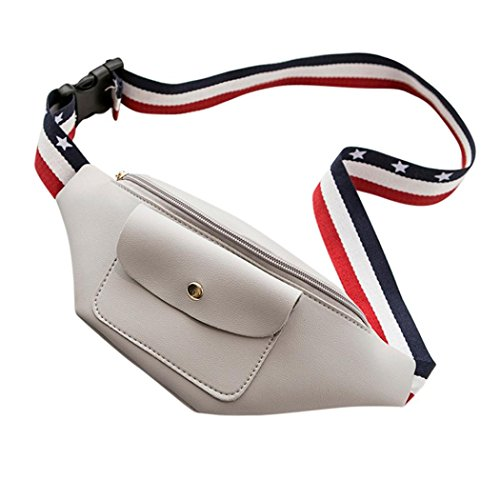Hunzed Women Handbag, Fashion { Solid Color Waist Pack } Women { Zipper Handbag Bag } Girls { Shoulder Phone Chest Bag } (Gray)
