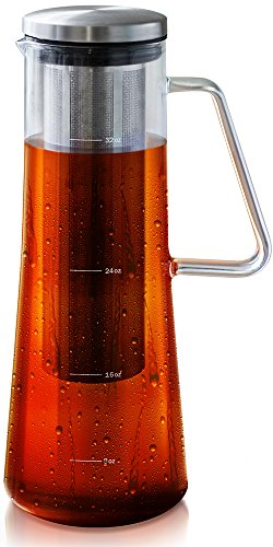 Cold Brew Coffee Maker with Sealing Design - 1 Quart Iced Coffee Maker - Glass Pitcher with Removable Filter