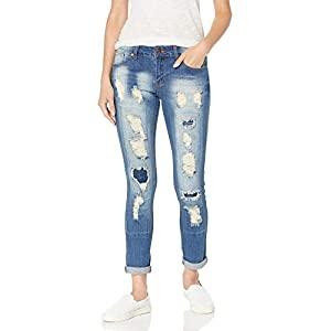 Women's High Waisted  Ripped Patched Repair Blue Skinny Jeans