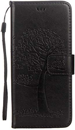 Zeebox® Galaxy S8 Plus ケース, 高級感 人気 PUレザー ツリーエンボス加工 財布型 ケース, スタンド機能 カード収納 マグネット開閉式 落下防止 衝撃吸収 ウォレッ カバー Galaxy S8 Plus 用 Case Cover, 黒