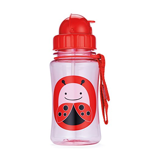 Skip Hop Baby Zoo Little Kid and Toddler Feeding Travel-To-Go Flip Top Straw Bottle, 12 oz, Multi Livie Ladybug