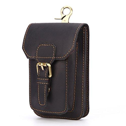 Ying Bolso de la cintura de los hombres Bolsos de cuero de la vendimia Primera capa Cinturones multifuncionales de cuero Hebilla magnética Bags Black