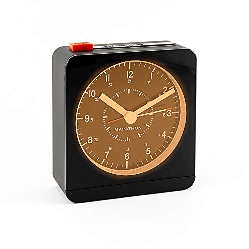 Marathon CL030053BK Silent Non-Ticking Alarm Clock with Warm Amber Auto Back Light and Repeating Snooze. Color-Black