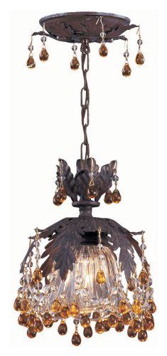 Crystorama 5235-DR-AMBER Melrose - One Light Ceiling Mount, Clear Hand Cut Crystal