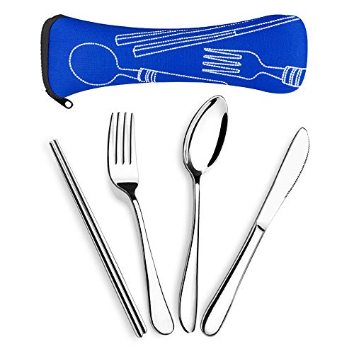 SUPERSUN 4 Pieces Reusable Lunch Utensils, Knife Fork Spoon Chopsticks Set, Travel Camping Cutlery Set with Neoprene Case, Reusable Lunch Box Utensils