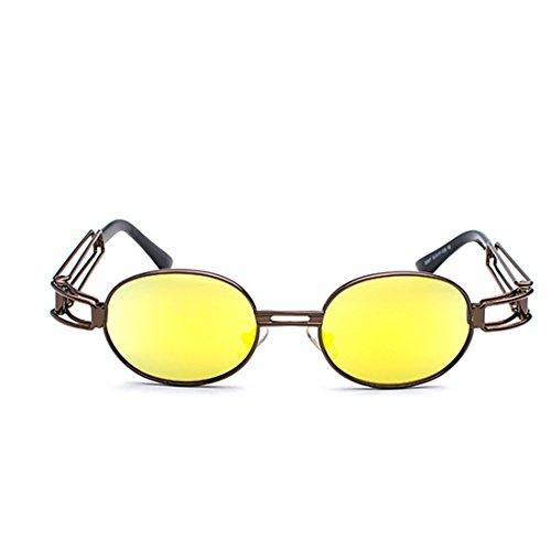 de sol marco Yefree ovales de transparente los metal hombres gafas Marrón Lentes Amarillo Gafas de redondas de Gafas de de lente señoras EfC4TC0qxw