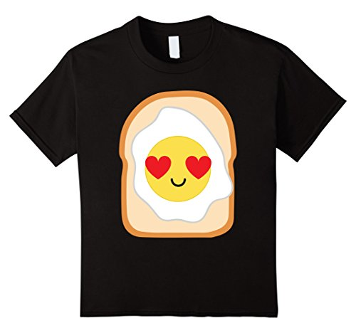 [Kids Fried Egg Bread Emoji Heart & Love Eye Shirt T-Shirt Tee 12 Black] (Toddler Fried Egg Costume)