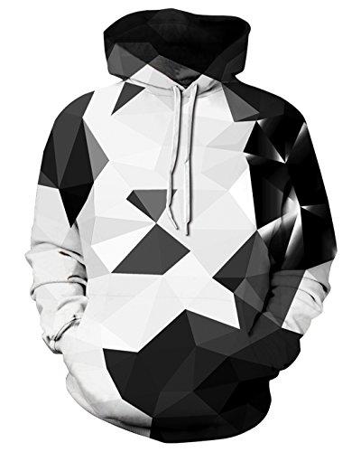 Unisex 3D Novelty Hoodies Galaxy Hoodies Sweatshirt Pockets (s/m, Black White Diamond) -