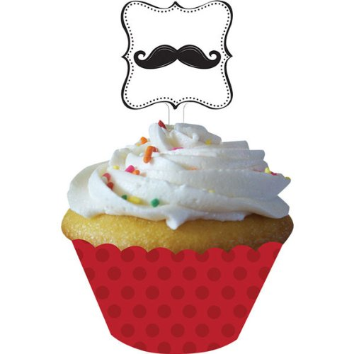 Creative Converting Mustache Madness 12 Count Cupcake Wrappers with Picks]()