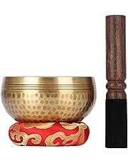 Biggo Tibetan Singing Bowl Set - With Mallet & Silk Cushion- Perfect resonance Meditation Yoga & Chakra Healing Handmade Bowl .Perfect Gift