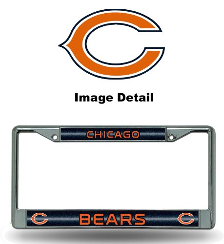 NFL Chicago Bears Bling Chrome License Plate Frame with Glitter Accent