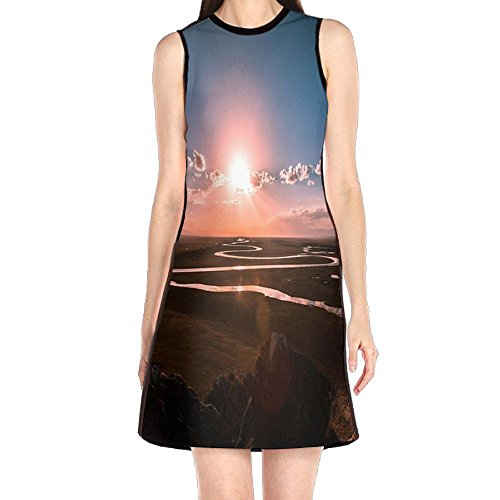 - MONILO Prairie River Sunrise Women's Sexy Sleeveless Mini Dress Print Party Dress Tank Dress