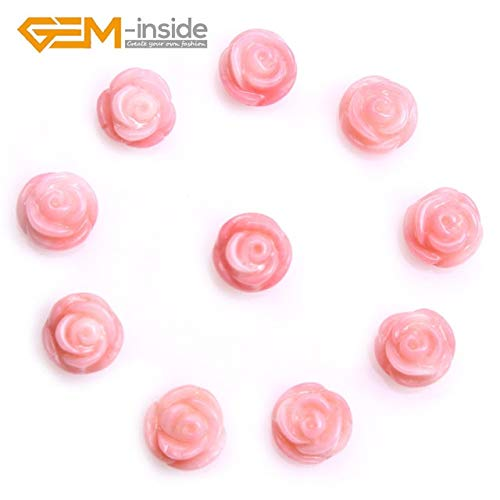 Flower Pink Natural Coral (Calvas 8mm 10mm 14mm Half Drilled Natural Coral Pink White Rose Flower Gem Stone Beads for Jewelry Making for Earring & Ring Gifts - (Color: 8MM 10PCS))