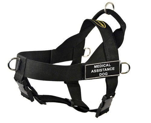 Dean & Tyler Universal No Pull Dog Harness, Medical Assistance Dog, Medium, Fits Girth Size  26-Inch to 32-Inch, Black