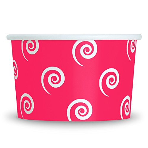 (Pink Easter Paper Ice Cream Cups - 4 oz Swirls And Twirls Dessert Bowls - Comes In Many Colors & Sizes! Frozen Dessert Supplies - Fast Shipping! 100 Count)