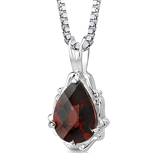 Garnet Pendant Necklace Sterling Silver Rhodium Nickel Finish 2.25 Carats Pear Shape