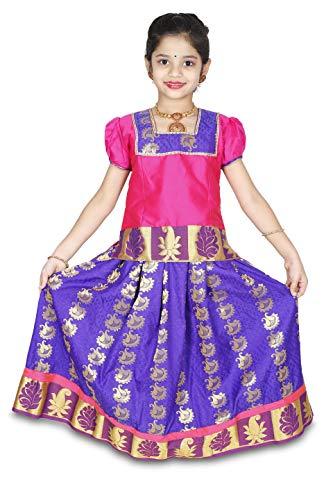 (kaatru Girls Pavadai Set D14 - Lehenga Choli - Buffon Sleeve (Pink & Violet) (7-8 Y))