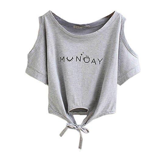 Froomer Women Summer Casual Off Shoulder Short T-Shirt Crop Tops