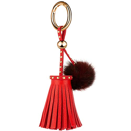 JOUDOO Leather Tassels Keychain with Mink Fur Ball and Rivet Keyring for Bags Purse Keys GJ019 (red) (Sheared Design Fur)