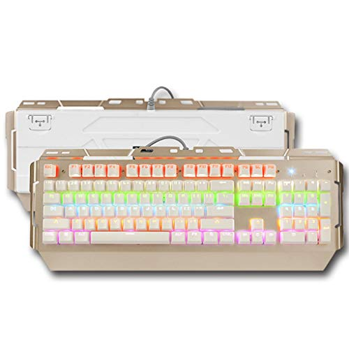 ZCP Wired Mechanical Keyboard Game Lighting Mechanical Feel Home Office Game 104 Key Label Keyboard Aggravation Chassis High Key Risk Keyboard (Color : Gold) (Chassis Lighting)