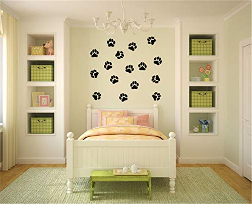 Wall Sticker Family DIY Decor Art Stickers Home Decor Wall Art Wall Decals Wild Animals Paw Print Wall Decal for Living Room Bedroom ()