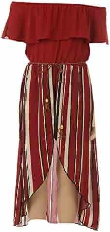 b6afe9eb2910 BluNight Collection Little Girls 2 Ways Ruffle Hi Lo Maxi Skirt Romper Belt  Jumpsuit Romper USA