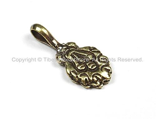 Tibetan Antiqued Brass Treasure Vase Mala Bum Counter- Tibetan Mala Counters- TibetanBeadStore Charms Mala Bum Counters- T139-1