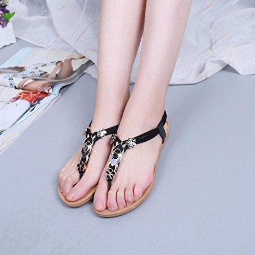 Elevin (tm) Kvinnor Sommarens Mode Pärlstav / Bandage / Paljett Bohemia Plattform Platt Flip Flop Sandal Skor Svart 1