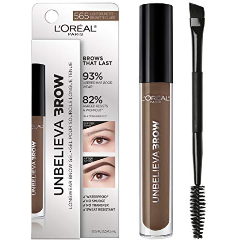 L'Oreal Paris Unbelieva-Brow Tinted Brow Makeup, Longwear, Waterproof Brow Gel, Sweat Resistant, Transfer Proof, Fills and Thickens Brows, Enhanced up to 48 Hours, Light Brunette, 0.15 fl. oz.