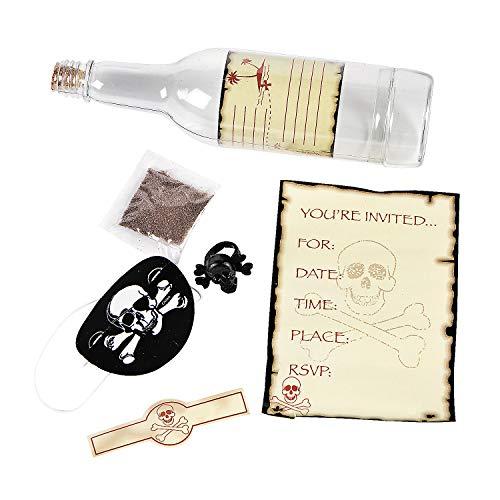 Plastic Skull & Crossbones Invitations in A Bottle - Pack of -