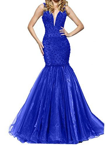 Damen Promkleider Blau Trumpet Royal Neu Abendkleider Langes Abschlussballkleider Dunkel Meerjungfrau Blau Charmant TfFUF