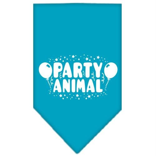 Mirage Pet Products Party Animal Screen Print Bandana for Pets, Small, Turquoise by Mirage Pet Products
