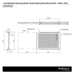 StarTech.com 2U Adjustable Mounting Depth Vented Sliding Rack Mount Shelf- 50lbs / 23kg - Sliding Server Rack Shelf - Server Cabinet Shelf