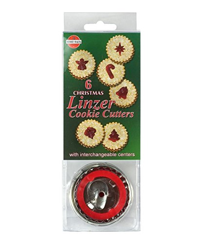 R&M International 1848 Christmas Linzer Cookie Cutters, Angel, Candy Cane, Bethlehem Star, Bell, Christmas Tree, Ornament, 6-Piece Set