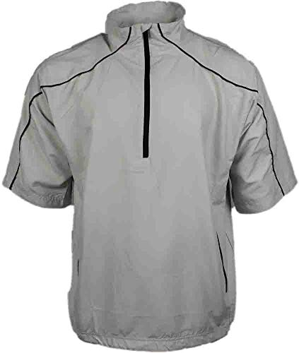 Mens Short Sleeve Windshirt - PAGE & TUTTLE Mens Free Swing Short Sleeve Peached Windshirt Golf Athletic Outerwear Jacket Bone XL
