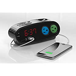 Sharp Alarm with USB and Outlets, Black
