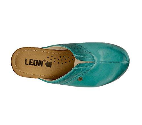 LEON 1002 Komfortschuhe Lederschuhe Pantolette Clog Damen, Türkis, EU 38