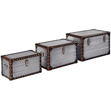 Stone & Beam Mid-Century Modern Wood Trunks, Pack of 3, Silver