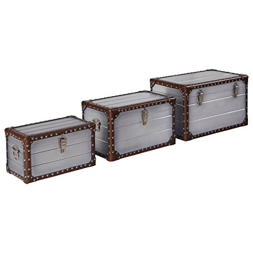 Stone & Beam Mid-Century Modern Storage Trunk with Leather Nailhead Trim - Set of 3, Silver (Leather Storage Trunk)